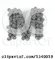 Clipart Of A 3d Checkered Sphere Patterned Capital Letter M On A White Background Royalty Free Illustration