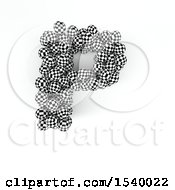 Clipart Of A 3d Checkered Sphere Patterned Capital Letter P On A White Background Royalty Free Illustration