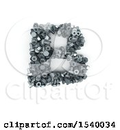Clipart Of A 3d Nuts And Bolts Capital Letter B On A White Background Royalty Free Illustration