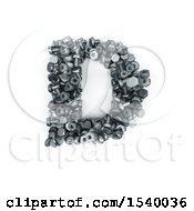 Clipart Of A 3d Nuts And Bolts Capital Letter D On A White Background Royalty Free Illustration