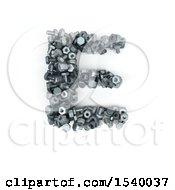 Clipart Of A 3d Nuts And Bolts Capital Letter E On A White Background Royalty Free Illustration