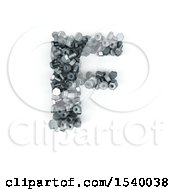 Clipart Of A 3d Nuts And Bolts Capital Letter F On A White Background Royalty Free Illustration