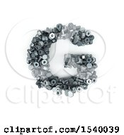 Clipart Of A 3d Nuts And Bolts Capital Letter G On A White Background Royalty Free Illustration