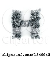 Clipart Of A 3d Nuts And Bolts Capital Letter H On A White Background Royalty Free Illustration