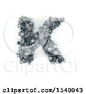 Clipart Of A 3d Nuts And Bolts Capital Letter K On A White Background Royalty Free Illustration