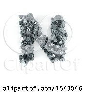 Clipart Of A 3d Nuts And Bolts Capital Letter N On A White Background Royalty Free Illustration