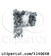 Clipart Of A 3d Nuts And Bolts Capital Letter P On A White Background Royalty Free Illustration