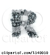 Clipart Of A 3d Nuts And Bolts Capital Letter R On A White Background Royalty Free Illustration