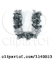 Clipart Of A 3d Nuts And Bolts Capital Letter U On A White Background Royalty Free Illustration