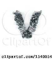 Clipart Of A 3d Nuts And Bolts Capital Letter V On A White Background Royalty Free Illustration