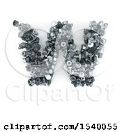 Clipart Of A 3d Nuts And Bolts Capital Letter W On A White Background Royalty Free Illustration
