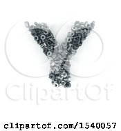 Clipart Of A 3d Nuts And Bolts Capital Letter Y On A White Background Royalty Free Illustration