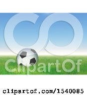 Clipart Of A 3d Soccer Ball In Grass Against A Blue Sky Royalty Free Illustration by KJ Pargeter