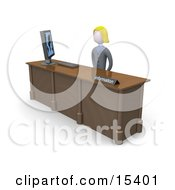 Friendly And Welcoming Blond Woman Working At A Computer At An Information Desk In An Office Clipart Illustration Image