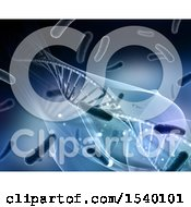 3d Dna Strand And Virus Cell Medical Background