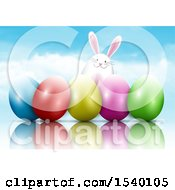 Clipart Of A Happy Easter Bunny With 3d Eggs Against Sky Royalty Free Vector Illustration