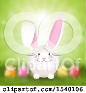 Clipart Of A Happy Easter Bunny Over A Blurred Egg Grass And Sunshine Background Royalty Free Vector Illustration