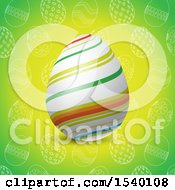 Clipart Of A 3d Striped Easter Egg Over A Green Pattern Royalty Free Vector Illustration
