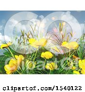 3d Background Of Buttercup Flowers And Grass Against Sky