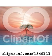 Clipart Of A 3d Tree In Water Against A Sunset Sky Royalty Free Illustration