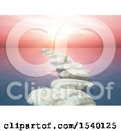 Clipart Of A 3d Background Of Stones And An Ocean Sunset Royalty Free Illustration