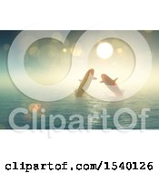 Clipart Of A 3d Sunny Sky And Silhouetted Pair Of Whales Jumping Out Of Water Royalty Free Illustration