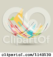 Clipart Of A Colorful Abstract Floating Curve Design On A Tan Background Royalty Free Vector Illustration