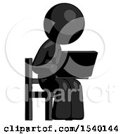 Black Design Mascot Woman Using Laptop Computer While Sitting In Chair Angled Right