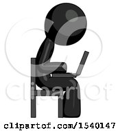 Black Design Mascot Man Using Laptop Computer While Sitting In Chair View From Side