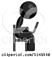 Black Design Mascot Woman Using Laptop Computer While Sitting In Chair View From Side