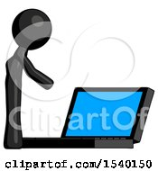 Black Design Mascot Man Using Large Laptop Computer Side Orthographic View