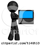 Black Design Mascot Man Holding Laptop Computer Presenting Something On Screen