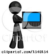 Black Design Mascot Woman Holding Laptop Computer Presenting Something On Screen