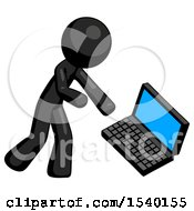 Black Design Mascot Man Throwing Laptop Computer In Frustration