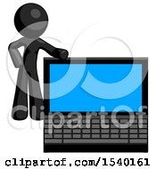 Black Design Mascot Man Beside Large Laptop Computer Leaning Against It