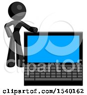 Black Design Mascot Woman Beside Large Laptop Computer Leaning Against It