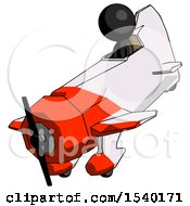 Black Design Mascot Man In Geebee Stunt Plane Descending View by Leo Blanchette