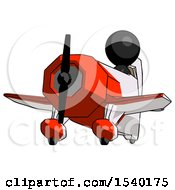 Black Design Mascot Man Flying In Geebee Stunt Plane Viewed From Below by Leo Blanchette