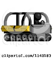 Black Design Mascot Man Driving Amphibious Tracked Vehicle Side Angle View