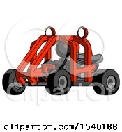 Black Design Mascot Woman Riding Sports Buggy Side Angle View