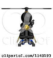 Black Design Mascot Man Flying In Gyrocopter Front View by Leo Blanchette
