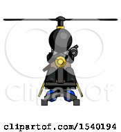 Black Design Mascot Woman Flying In Gyrocopter Front View