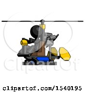 Black Design Mascot Man Flying In Gyrocopter Front Side Angle View