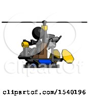 Black Design Mascot Woman Flying In Gyrocopter Front Side Angle View