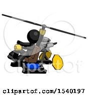 Black Design Mascot Man Flying In Gyrocopter Front Side Angle Top View