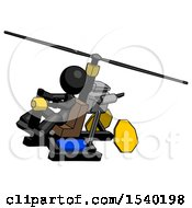 Black Design Mascot Woman Flying In Gyrocopter Front Side Angle Top View