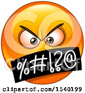 Clipart Of A Cursing Emoji Emoticon Face With Symbols Over The Mouth Royalty Free Vector Illustration