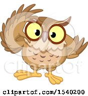 Clipart Of A Wise Owl Adjusting His Glasses Royalty Free Vector Illustration