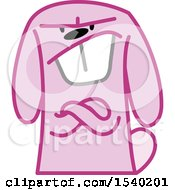 Clipart Of A Mad Pink Bunny Rabbit Royalty Free Vector Illustration