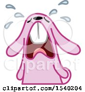 Clipart Of A Crying Pink Bunny Rabbit Royalty Free Vector Illustration